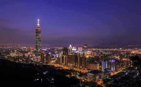 View from the top of the Xiangshan is the classical view of the 101 and Taipei night scene Stock Photo