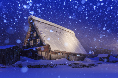 shirakawago: Historic Villages of Shirakawa-go in a snowy day at night