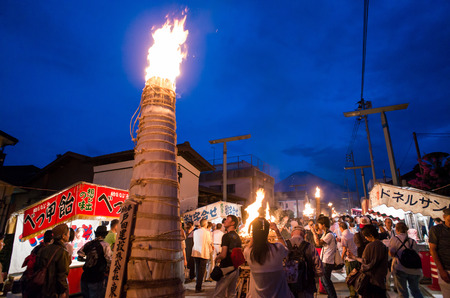 sengen: The special festival - Yoshida fire festival. This festival is designated as one of the three most unique festivals in Japan. Editorial