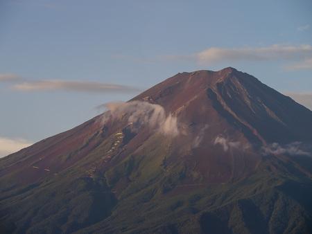 The famous Mt. Fuji at Kawaguchi, Japan around morning time