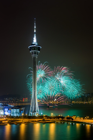 International firework shows near Bridge Ponte de Sai Van and Macau tower Stock Photo