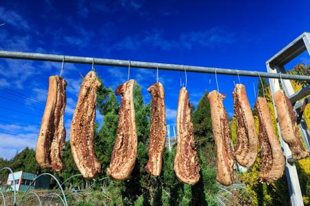 seasoned: Taiwan traditional seasoned meat dry in the sun at Nantou