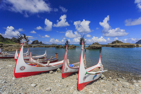 Beautiful carving boat at Orchid Island, Taitung, Taiwan