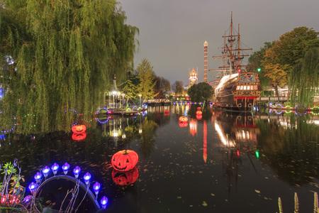 historical reflections: Traveling in the famous Tivoli park, Copenhagen around Autumn season