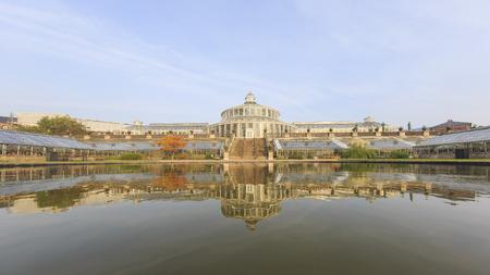 historical reflections: Traveling in the famous Botanical Garden, Copenhagen around Autumn season Stock Photo