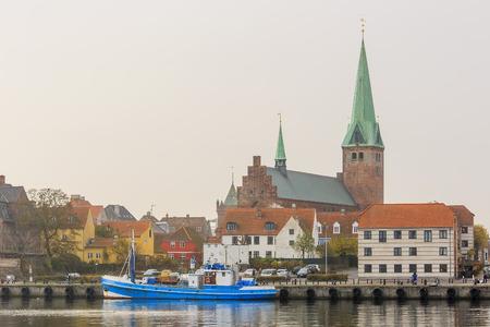 historical reflections: Traveling in the famous Helsingør Domkirke, Copenhagen around Autumn season Stock Photo