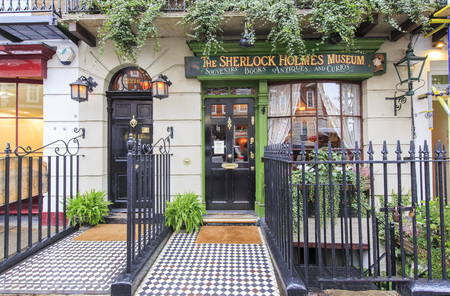 holmes: Traveling in the famous The Sherlock Holmes Museum, London, United Kingdom around morning Editorial