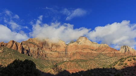 Travelling in the famous Zion National Park at Utah Stock Photo