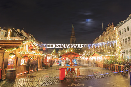 Christmas Market near Stork Fountain of Copenhagen at night