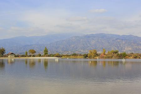 recreation area: Super aftrenoon light of Santa Fe Dam Recreation Area with beautiful reflection
