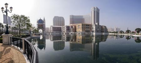 historical reflections: Beautiful reflection of Venetian at Macau at morning