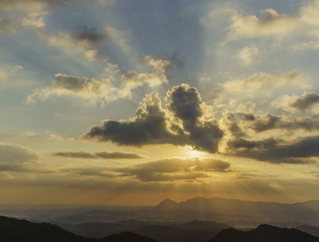 sun rise: Sun rise at five finger mountain of Taipei, Taiwan Stock Photo