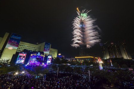 New Year fireworks show of Taipei 101 at 2012 Editorial