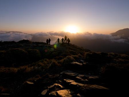 Stijging van de zon op de beroemde natuur landschap van Hehuanshan, Taiwan