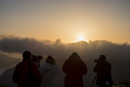 sun rise: Sun rise at the famous nature landscape of Hehuanshan, Taiwan