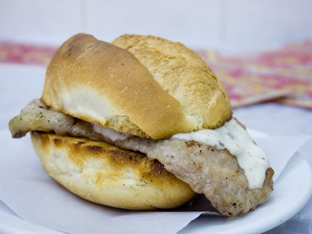 Traditional pork bread Pork chop bun of Macau Stock Photo