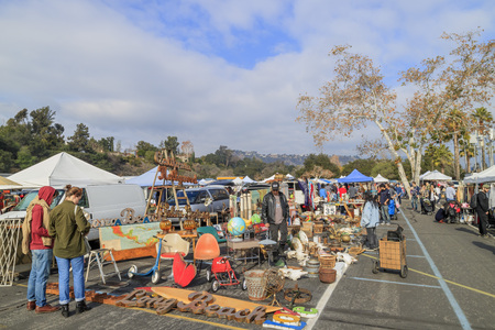 Pasadena, California, USA - January 10, 2016: The famous flea market at Rose bowl, held in Pasadena, California