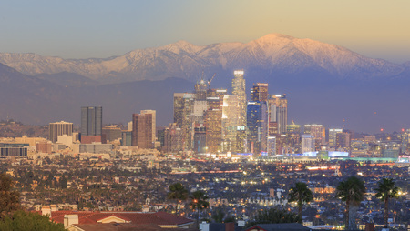 los: Special day to night view of Los Angeles Downtown at Kenneth State Park