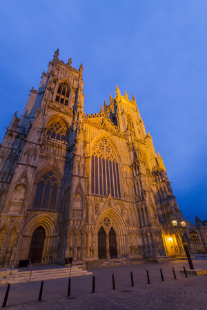 york minster: The famous York Minster at twilight with blue sky Stock Photo