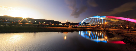 Special sunset to night view of Sun Bridge, Taiwan Stock Photo