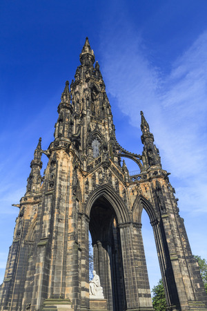 scott monument: The famous Scott Monument and blue sky in Edinburgh area Stock Photo