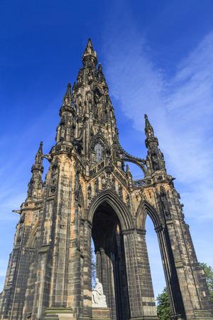 scott: The famous Scott Monument and blue sky in Edinburgh area Stock Photo