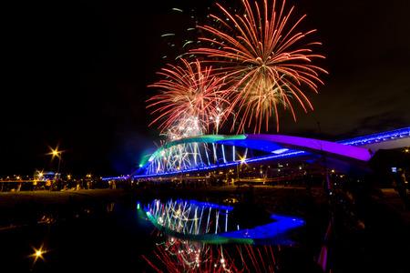 Fireworks at Sun Bridge at night, Taiwan