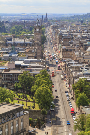 princes street: Aerial view of Princes street from The Nelson Monument, United Kingdom
