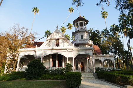 and arcadia: Beautiful park with building, blue sky, California