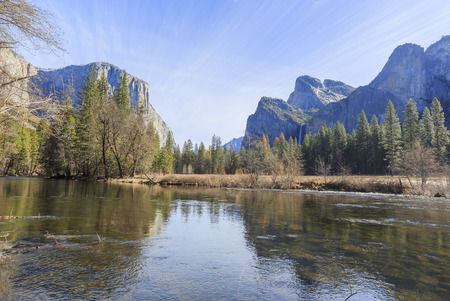 bridalveil fall: The famous Valley View of Yosemite at morning Stock Photo