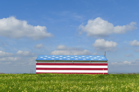Special American flag style house with flower field and blue sky Redakční