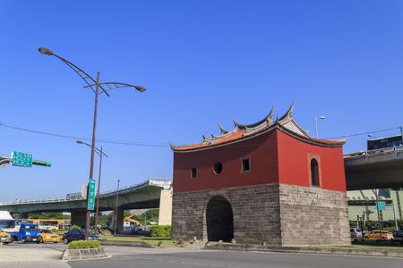 an approach: Beimen with Zhongxiao Bridge Approach behind at Taipei City, Taiwan