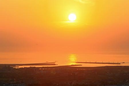 sun rise: Beautiful Sun rise at Wushi port, Ilan, Taiwan Stock Photo