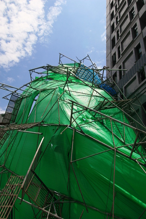collapsed: The collapsed Scaffolding in Taipei street, Taiwan