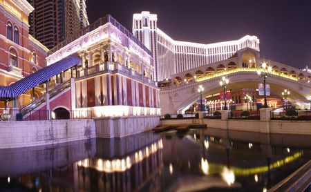 historical reflections: Beautiful reflection of Venetian at Macau at night