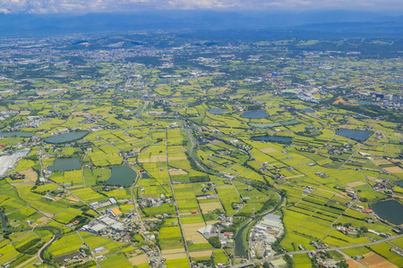 Aerial view of Taiwan from a airplane, asia 스톡 콘텐츠