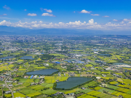 Aerial view of Taiwan from a airplane, asia Stock Photo
