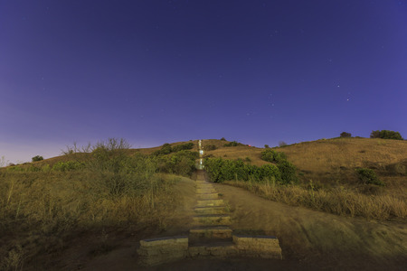 overlook: Long stairs at Baldwin Hills Scenic Overlook at night Stock Photo