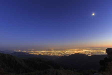 sight seeing: Sight seeing over San Bernardino at sunset time Stock Photo