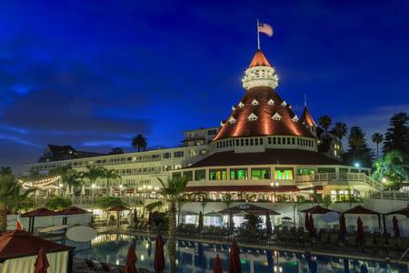 Historic Victorian beach hotel on coronado island in coronado at night, California Editorial