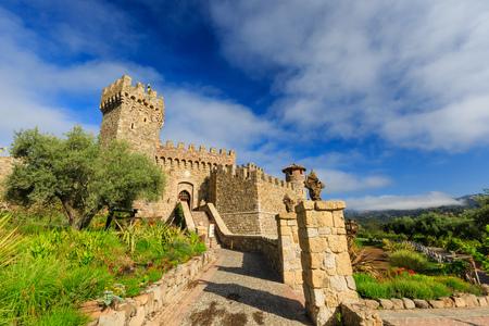 napa valley: Napa Valley vineyard and castle, California Editorial