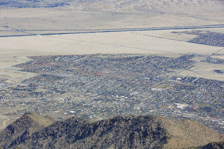 palm springs: Aerial view of Palm Springs city from top, California