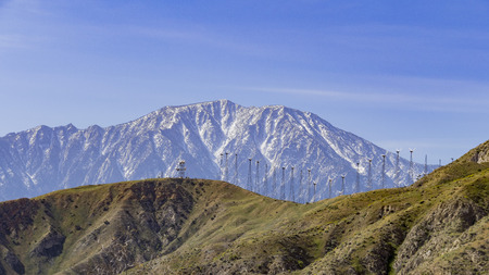 whitewater: Windmill and snow mountain at Whitewater, Palm Springs, California Stock Photo