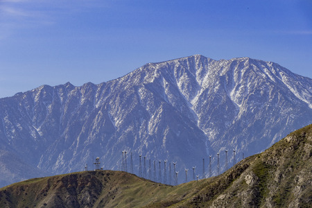 palm springs: Windmill and snow mountain at Whitewater, Palm Springs, California Stock Photo
