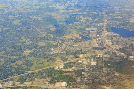 lakeland: Aerial view of Lakeland cityscape at morning, Florida Stock Photo