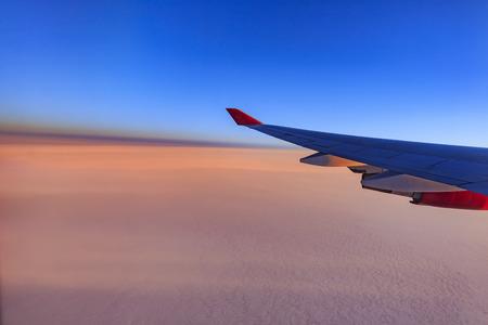 sun rise: Beautiful sky while traveling via airplane around sun rise time