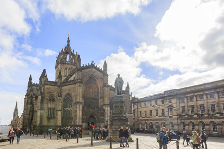 giles: Scotland, MAR 28: The St Giles Cathedral at the Royal Mile towards the Edinburgh castle on MAR 28, 2016 at United Kingdom. Editorial