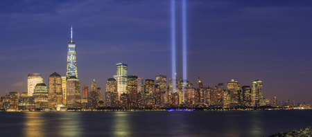 911 Memorial light and New York City skyline at night