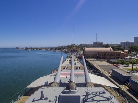 battleship: Long Beach, JUL 24: Battleship USS Iowa on JUL 24, 2014 at Long Beach