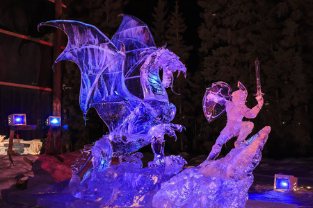 ice sculpture: MAR 19, Fairbanks: The beautiful Ice sculpture on MAR 19, 2015 at Fairbanks Editorial